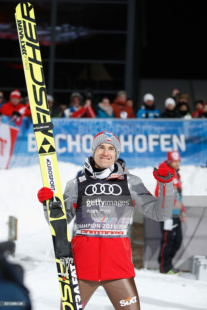 Kamil Stoch of Poland celebrates winning the final round on Day 2 of the 65th Four Hills Tournament ski jumping event at Paul-Ausserleitner-Schanze on January 6, 2017 in Bischofshofen, Austria.