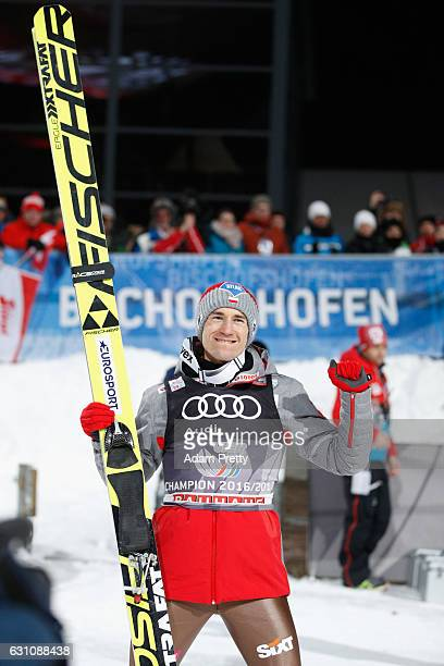 Kamil Stoch of Poland celebrates winning the final round on Day 2 of the 65th Four Hills Tournament ski jumping event at PaulAusserleitnerSchanze on...
