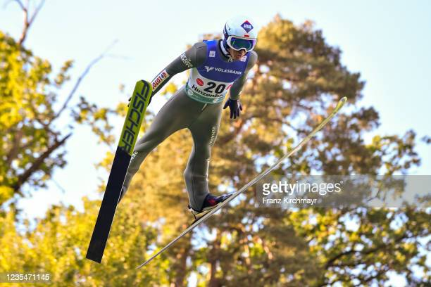 Kamil Stoch of Poland competes during the FIS Grand Prix Skijumping Hinzenbach at on February 6, 2021 in Eferding, Austria.