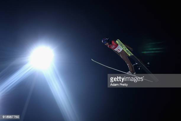 Kamil Stoch of Poland competes during the Ski Jumping Men's Large Hill Individual Qualification at Alpensia Ski Jumping Center on February 16 2018 in...