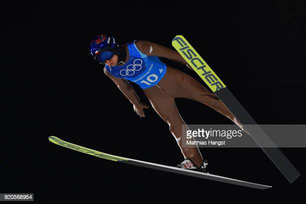 Kamil Stoch of Poland competes during the Ski Jumping Men's Team Large Hill on day 10 of the PyeongChang 2018 Winter Olympic Games at Alpensia Ski...