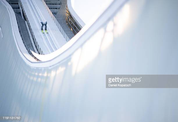 Kamil Stoch of Poland competes during the trail round of the 68th FIS Nordic World Cup Four Hills Tournament at Olympiaschanze on January 1, 2020 in...