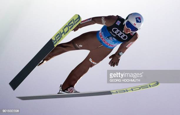 TOPSHOT Kamil Stoch of Poland competes during the training of the fourth and final stage of the FourHills Ski Jumping tournament in Bischofshofen...