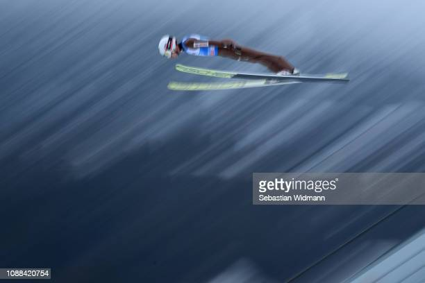 Kamil Stoch of Poland competes on day 3 of the 67th FIS Nordic World Cup Four Hills Tournament ski jumping event on December 31 2018 in...