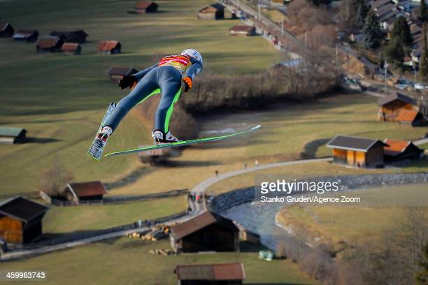 Kamil Stoch of Poland during the FIS Ski Jumping World Cup Vierschanzentournee on January 01, 2014 in Garmisch-Partenkirchen, Germany.
