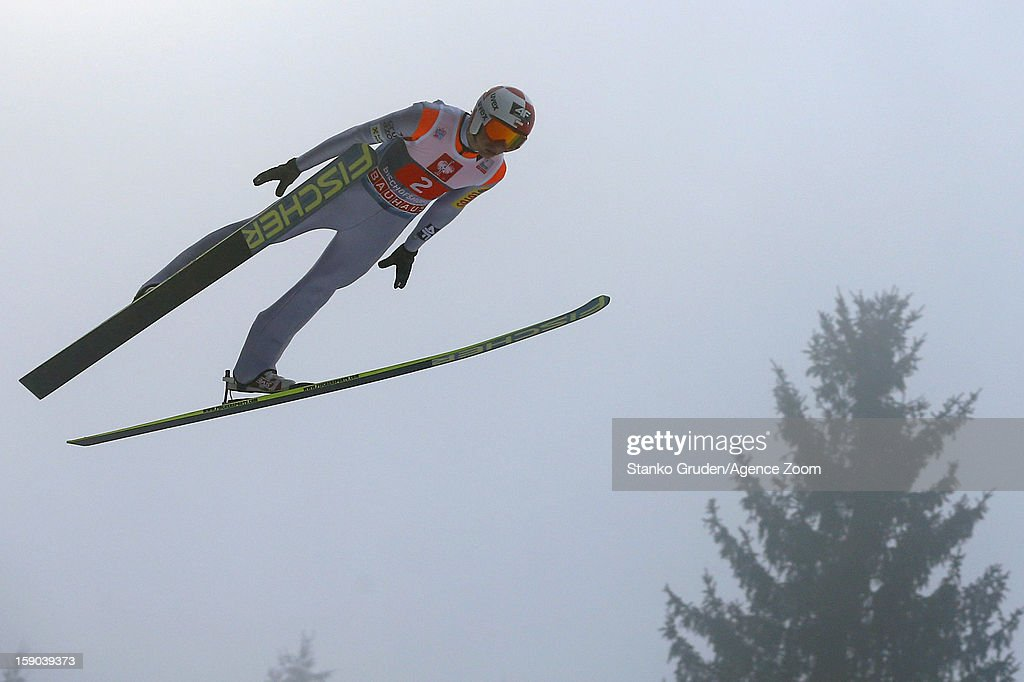 Kamil Stoch of Poland during the FIS Ski Jumping World Cup Vierschanzentournee (Four Hills Tournament) on January 06, 2013 in Bischofshofen, Austria.