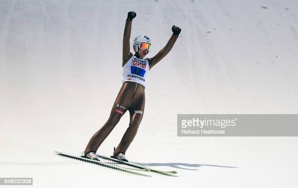 Kamil Stoch of Poland in action during the Men's Team Ski Jumping HS130 at the FIS Nordic World Ski Championships on March 4, 2017 in Lahti, Finland.