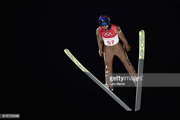 Kamil Stoch of Poland jumps during Men's Normal Hill Individual Trial Round for Qualification at Alpensia Ski Jumping Centre on February 8 2018 in...