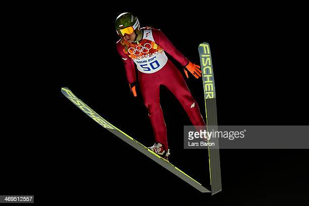 Kamil Stoch of Poland jumps during the Men's Large Hill Individual 1st Round on day 8 of the Sochi 2014 Winter Olympics at the RusSki Gorki Ski...