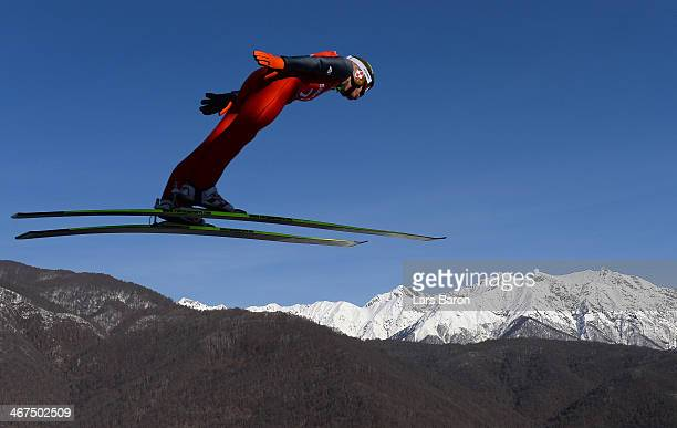 Kamil Stoch of Poland jumps during the Men's Normal Hill Individual training ahead of the Sochi 2014 Winter Olympics at the RusSki Gorki Ski Jumping...
