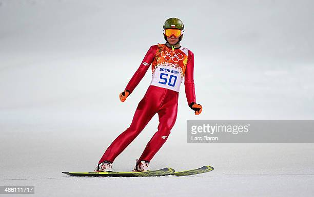 Kamil Stoch of Poland jumps during the Men's Normal Hill Individual first round on day 2 of the Sochi 2014 Winter Olympics at the RusSki Gorki Ski...