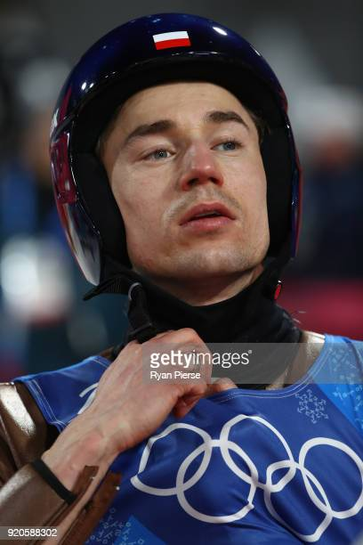 Kamil Stoch of Poland looks on during the Ski Jumping Men's Team Large Hill on day 10 of the PyeongChang 2018 Winter Olympic Games at Alpensia Ski...
