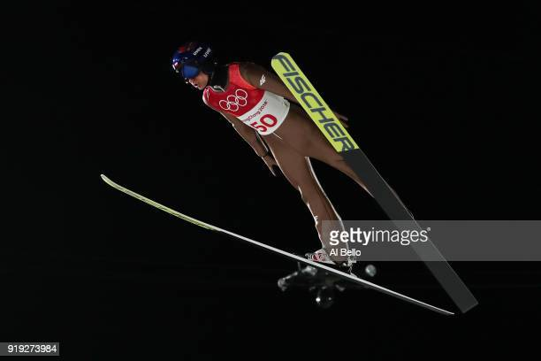 Kamil Stoch of Poland makes a jump during the Ski Jumping Men's Large Hill on day eight of the PyeongChang 2018 Winter Olympic Games at Alpensia Ski...