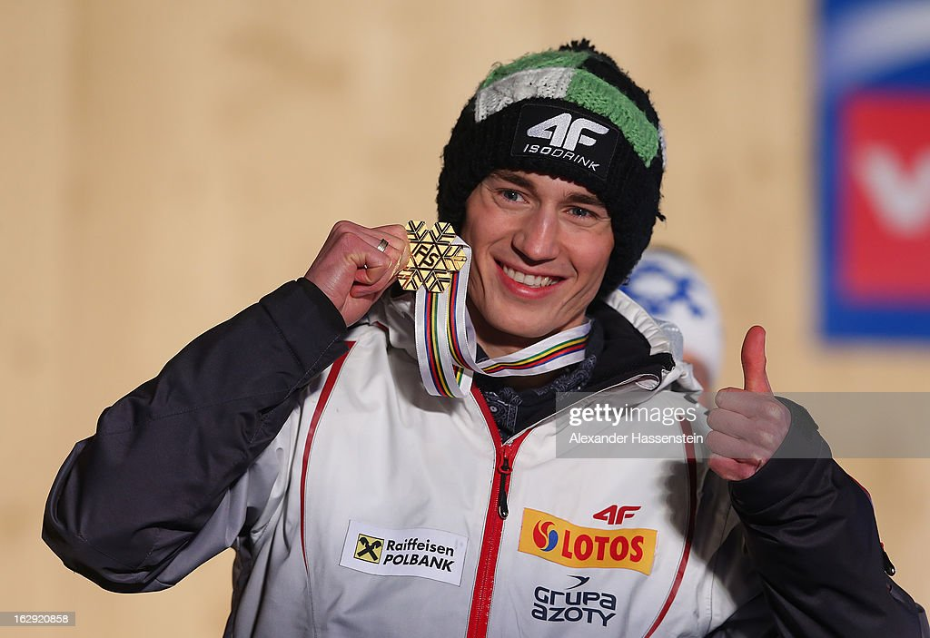 Kamil Stoch of Poland poses with his Gold medal during the Medal Ceremony for the Men's Ski Jumping HS134 at the FIS Nordic World Ski Championships on March 1, 2013 in Val di Fiemme, Italy.
