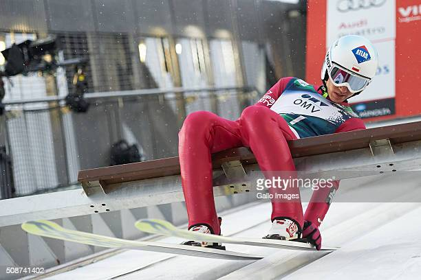 Kamil Stoch of Poland prepares to compete during the FIS Ski Jumping World Cup MenÕs HS134 Qualification on February 5 2016 in Oslo Norway FIS is the...