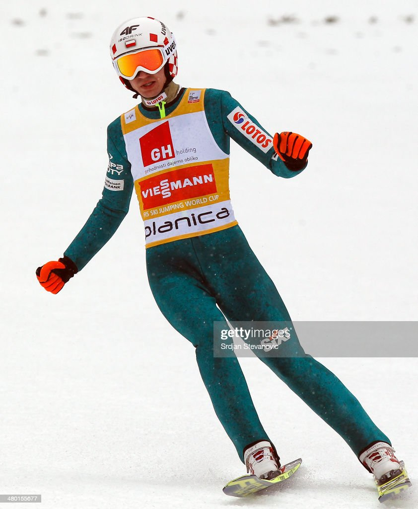 Kamil Stoch of Poland reacts after his jump during the final round of the Large Hill Individual of the FIS Men's Ski Jumping World Cup on March 23, 2014 in Planica, Slovenia.
