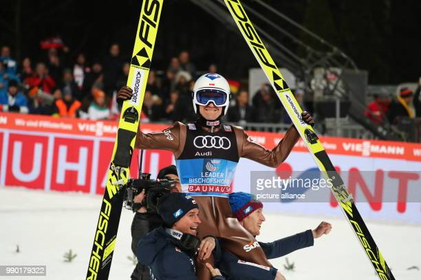 Kamil Stoch of Poland reacts after his jump in the second round at the Four Hills Tournament in Bischofshofen Austria 6 January 2018 Stoch won first...