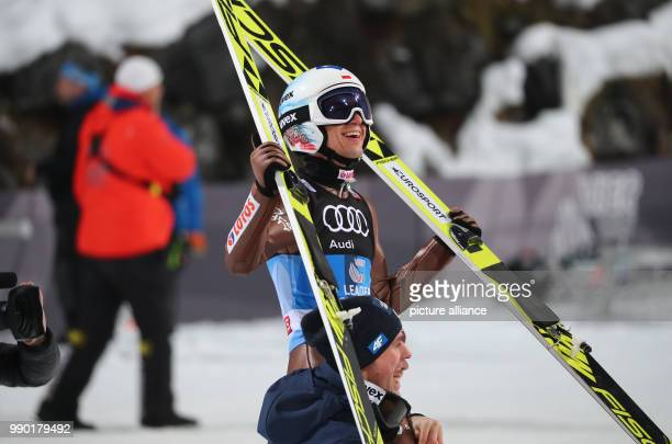 Kamil Stoch of Poland reacts after his jump in the second round at the 66th Four Hills Tournament in Bischofshofen Austria 6 January 2018 Stoch won...