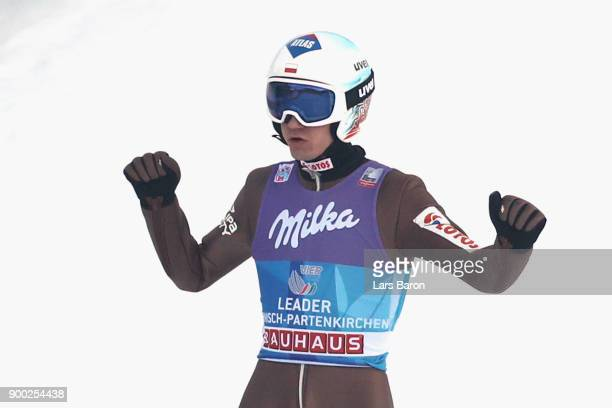 Kamil Stoch of Poland reacts after the final round on day 4 of the FIS Nordic World Cup Four Hills Tournament ski jumping event at OlympiaSchanze on...