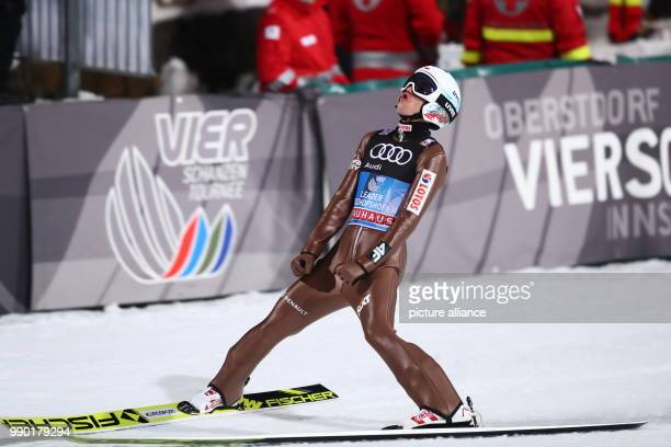 Kamil Stoch of Poland reacts after the his jump in the second round at the Four Hills Tournament in Bischofshofen Austria 6 January 2018 Stoch won...