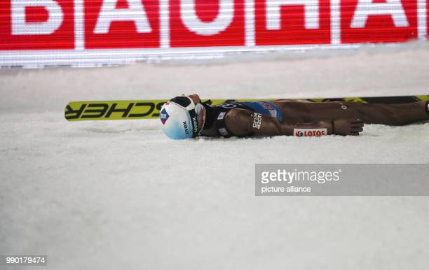 Kamil Stoch of Poland reacts during his jump in the second round at the 66th Four Hills Tournament in Bischofshofen Austria 6 January 2018 Stoch won...