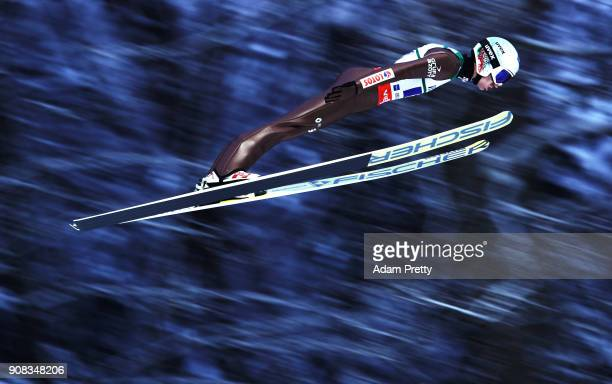Kamil Stoch of Poland soars through the air during his first competition jump of the Flying Hill Team competition of the Ski Flying World...