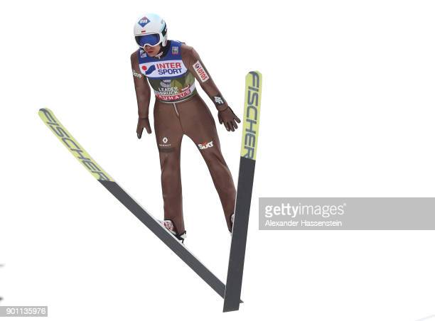 Kamil Stoch of Poland soars through the air during his practice jump of the 65th Four Hills Tournament at Bergisl Schanze on January 4 2018 in...