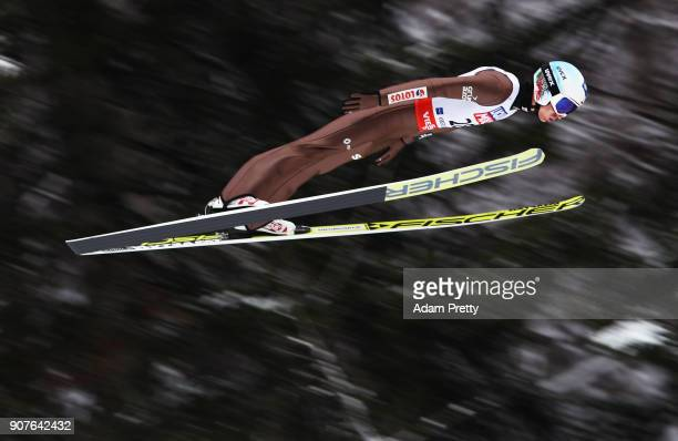 Kamil Stoch of Poland soars through the air during his practice jump before the FIS Ski Flying World Championships final on January 20 2018 in...