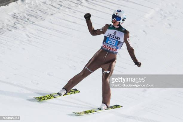 Kamil Stoch of Poland takes 1st place during the FIS Nordic World Cup Four Hills Tournament on December 30 2017 in Oberstdorf Germany