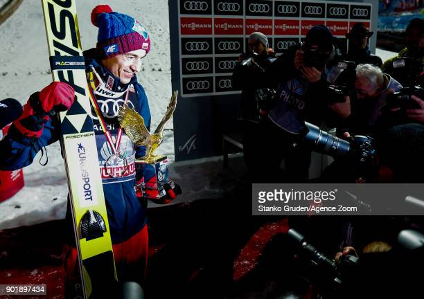 Kamil Stoch of Poland takes 1st place during the FIS Nordic World Cup Four Hills Tournament on January 6 2018 in Bischofshofen Austria