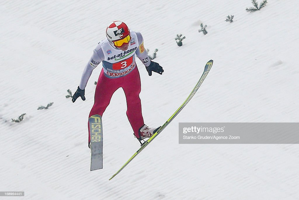 Kamil Stoch of Poland takes 2nd place during the FIS Ski Jumping World Cup Vierschanzentournee (Four Hills Tournament) on January 04, 2013 in Innsbruck, Austria.