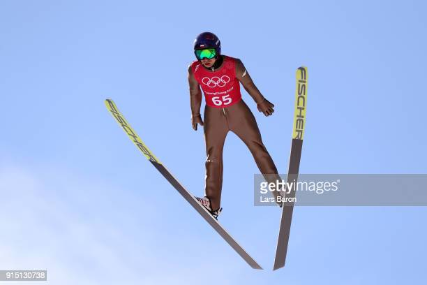 Kamil Stoch of Poland trains for the Men's Normal Hill Ski Jumping ahead of the PyeongChang 2018 Winter Olympic Games at Alpensia Ski Jumping Centre...
