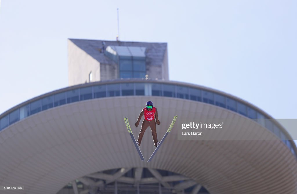 Kamil Stoch of Poland trains for the Men's Normal Hill Ski Jumping ahead of the PyeongChang 2018 Winter Olympic Games at Alpensia Ski Jumping Centre on February 7, 2018 in Pyeongchang-gun, South Korea.