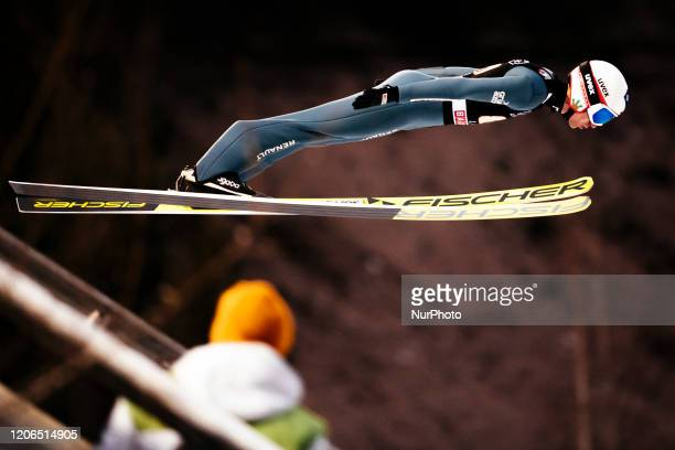 Kamil Stoch soars in the air during the men's large hill team competition HS130 of the FIS Ski Jumping World Cup in Lahti, Finland, on February 29,...