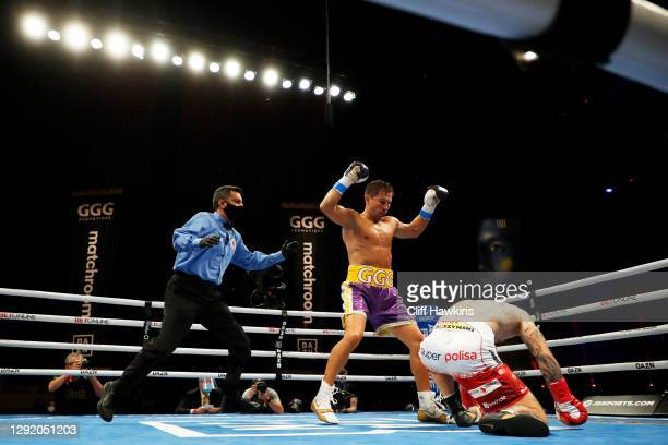 Kamil Szeremeta is knocked down by Gennadiy Golovkin in their IBF Middleweight title bout at Seminole Hard Rock Hotel & Casino on December 18, 2020...