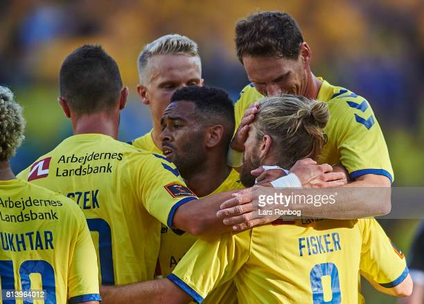 Kamil Wilczek Kevin Mensah Hjortur Hermannsson Benedikt Rocker and Kasper Fisker of Brondby IF celebrate after scoring their second goal during the...