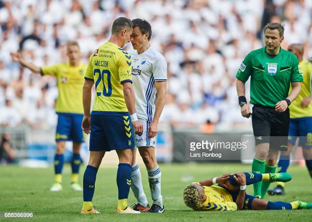 Kamil Wilczek of Brondby IF and William Kvist of FC Copenhagen shake heads during the Danish Cup Final DBU Pokalen match between FC Copenhagen and...