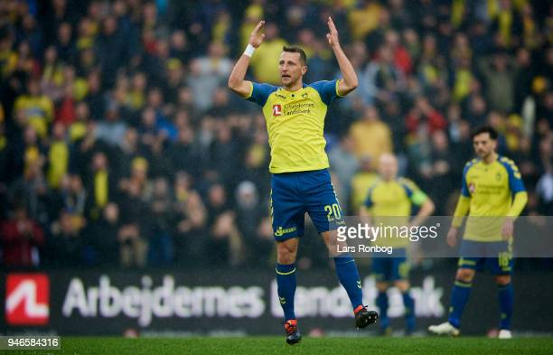 Kamil Wilczek of Brondby IF celebrates after scoring their first goal during the Danish Alka Superliga match between Brondby IF and FC Copenhagen at...