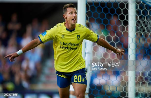 Kamil Wilczek of Brondby IF celebrates after scoring their second goal during the Danish Superliga match between Randers FC and Brondby IF at...