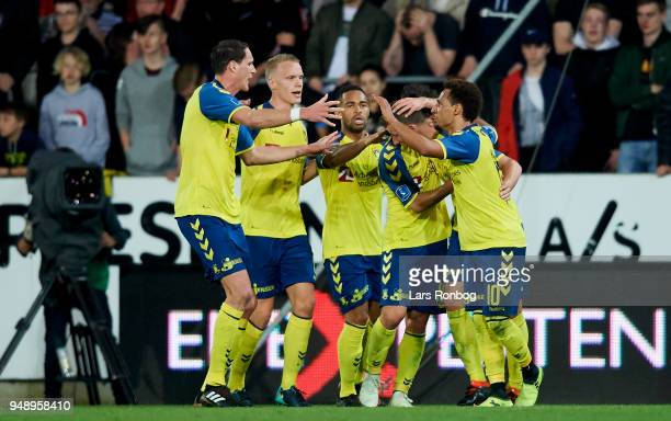 Kamil Wilczek of Brondby IF celebrates after scoring their second goal during the Danish Alka Superliga match between FC Midtjylland and Brondby IF...