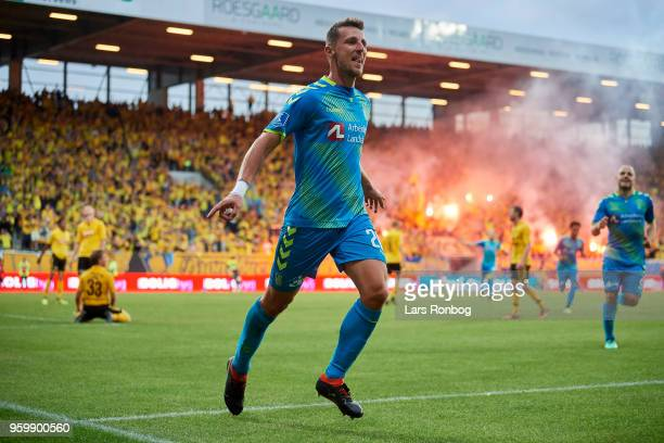 Kamil Wilczek of Brondby IF celebrates after scoring their second goal during the Danish Alka Superliga match between AC Horsens and Brondby IF at...