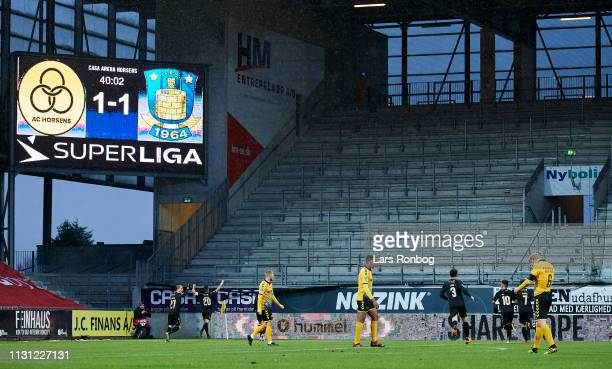 Kamil Wilczek of Brondby IF celebrates in front of the empty away section after scoring their second goal during the Danish Superliga match between...
