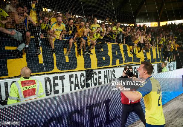 Kamil Wilczek of Brondby IF celebrates with the fans after the Danish Alka Superliga match between FC Midtjylland and Brondby IF at MCH Arena on...