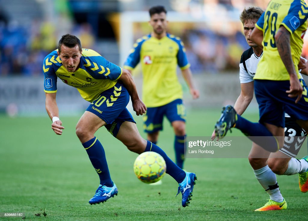 Kamil Wilczek of Brondby IF in action during the Danish Alka Superliga match between Brondby IF and AC Horsens at Brondby Stadion on August 27, 2017 in Brondby, Denmark.