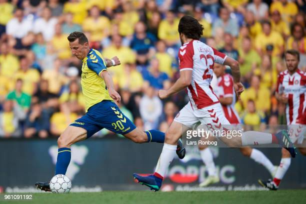 Kamil Wilczek of Brondby IF in action during the Danish Alka Superliga match between Brondby IF and AaB Aalborg at Brondby Stadion on May 21 2018 in...