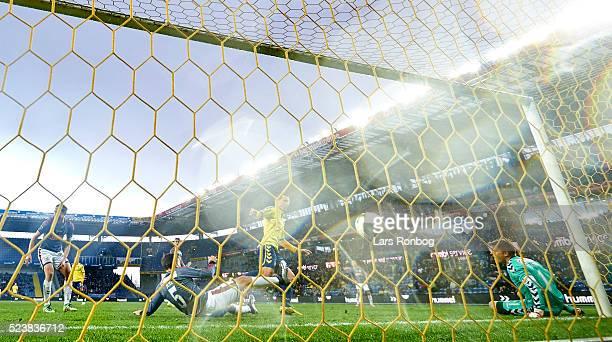 Kamil Wilczek of Brondby IF scores the 21 goal against Goalkeeper Steffen Rasmussen of AGF Aarhus during the Danish Cup DBU Pokalen semifinal match...