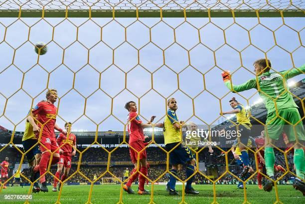 Kamil Wilczek of Brondby IF scores the 21 goal against Goalkeeper Runar Alex Runarsson of FC Nordsjælland during the Danish Alka Superliga match...