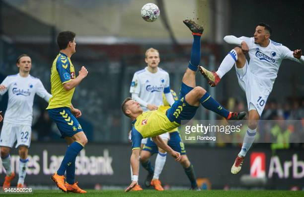 Kamil Wilczek of Brondby IF with a bicycle kick in action against Zeca of FC Copenhagen during the Danish Alka Superliga match between Brondby IF and...