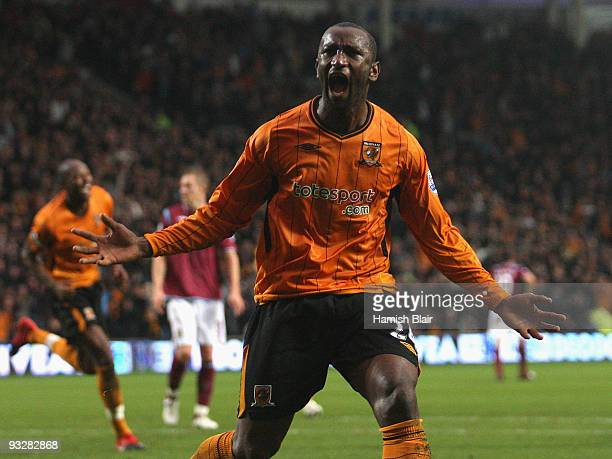 Kamil Zayatte of Hull celebrates after scoring his team's second goal during the Barclays Premier League match between Hull City and West Ham United...