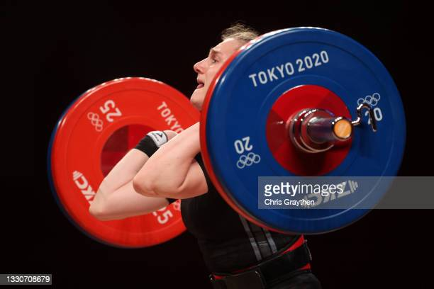 Kamila Konotop of Team Ukraine competes during the Weightlifting - Women's 55kg Group A on day three of the Tokyo 2020 Olympic Games at Tokyo...
